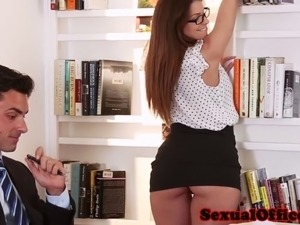 Classy office secretary in glasses fucks boss