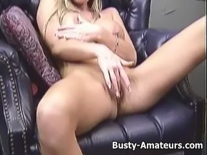Busty Tera playing her pussy on the couch free