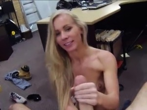 Small tits blonde bimbo sells her car and fucked on a table