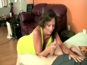Milf is eager to tug and get naked for her stud free