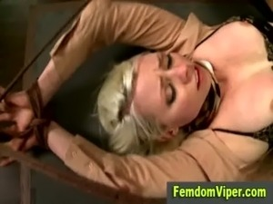 Busty blonde strapon fuck free