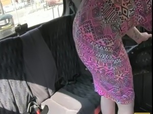 Busty tattooed amateur sucks dick and balls in taxi free