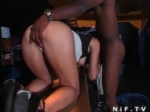 Sexy french brunette gets her ass pounded by black barman in a club