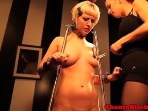 Hot blonde bondage sub manhandled by dom in this hd video