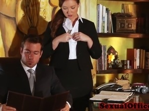 Redhead office secretary banging the boss