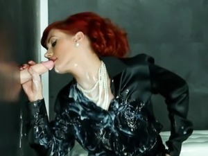 Sexy redhead bukkake babe sprayed with cum in high def