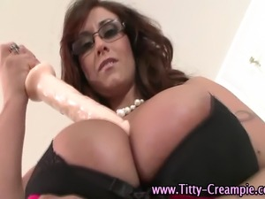 Big tits horny pov spex hot bitch uses toy between her hot tits