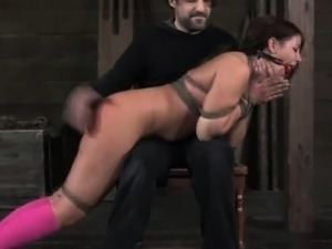 Gagged sub gets ass spanked raw