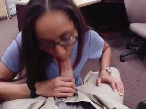 Hot brunette sells her car and her pussy