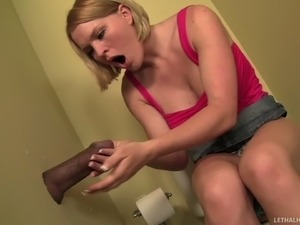 This interracial gloryhole video features big titted blonde Krissy Lynn