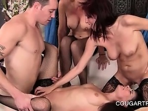 Horny sexy cougar licking pussy while she gets fucked
