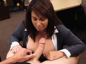 Sexy busty Milf selling old coins for her husbands bail