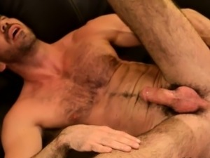 Gay bear cums from tug with dildo in ass