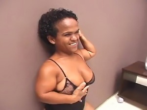 A cute mature Brazilian midget with great tits, a hairy cunt and a HUGE, PHAT...