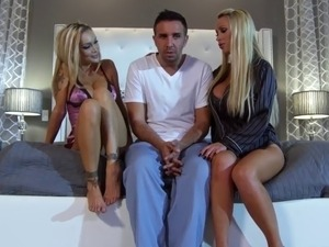Busty blonde wife shares her man with hot pal
