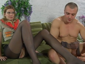 Honey scout inside ebony control top tights talked in pantyhosejob and boning