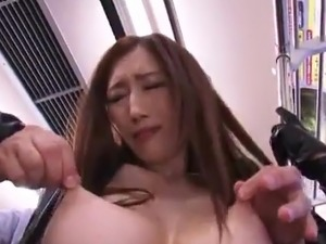 Amazing Japanese pussy inside Latex has got laid inside the Train