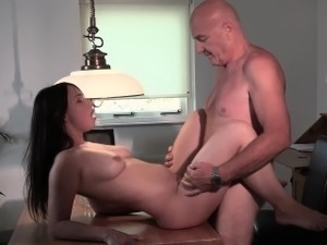 Old young couple fucking on table