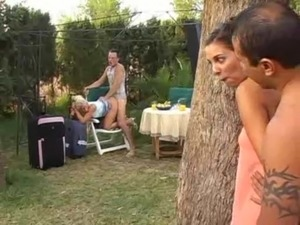 Two hot couples fuck by the pool free