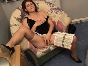 MILF plays with her pussy and the plumber joins