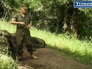 Big Dicked Soldier Is Discovered Masturbating