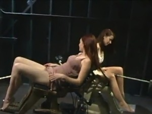 2 Smut lesbie gals have got laid By couple bonking Machines
