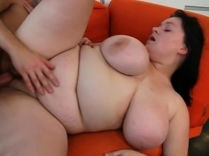 Busty bitch gives tits job then gets fucked