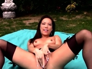 Asian realtor stripping outdoors