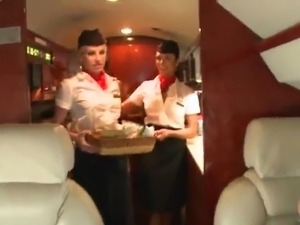 Couple Incredibly Cute Flight Attendants get laid the Passenger's giant schlong