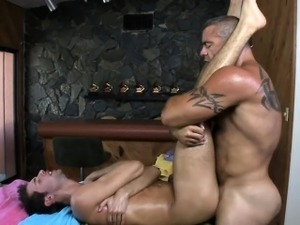 Twink is giving a oral stimulation for gay masseur
