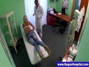 Sham doctor fingering blonde patient free