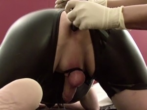 German Amateur Teen Femdom Him With Strapon and Piss On