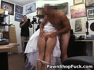 Slutty Blonde Bride Fucked On Desk In Pawn Shop Office