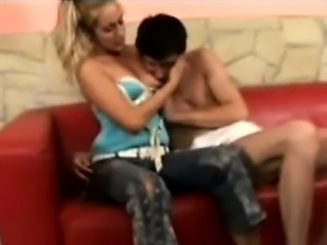 Petite blonde babysitter takes care of his filthy adultbaby