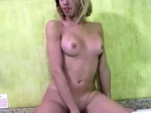 Slender tranny with charming body exposes nude ass and jerks