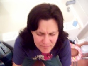 Clothed wife takes great blast on her face