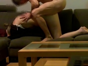 Fucking my wife on the couch 2 - hidden cam