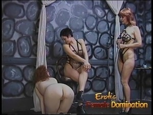 Rough dominatrix has her fun with a skinny pale slave girl