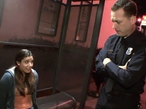 Pigtailed teen cutie Tiffany Summers surrenders herself to a hung cop