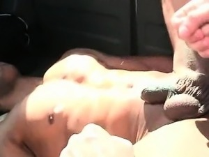 Aroused guy fucking gay little butt hole for the first time