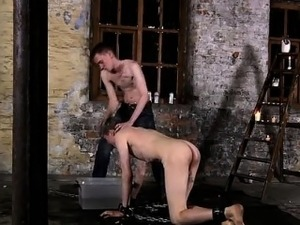 Teen boy gay sex cow Chained to the warehouse floor and inca