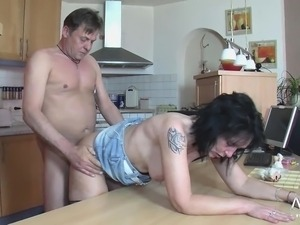 Mature wife gets fucked hard in the kitchen