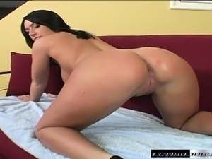 Brunette cocksucker Jordan Star caresses her tits and twat with a huge black...