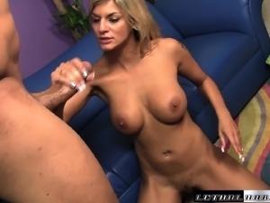 Big breasted blonde beauty Klarisa fucks a long dick every way she can