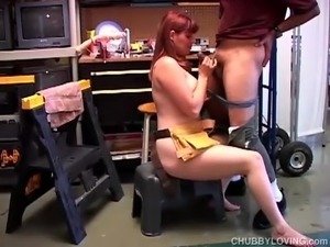 Cock hungry chubby redhead loves the taste of cum