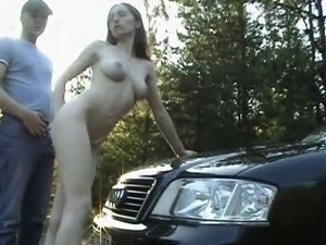 on a car in the woods
