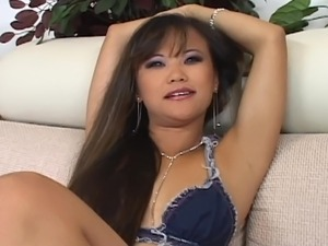 Long-haired asian prefers black cock