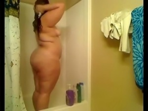 Hot Chubby BBW Teen GF showing ass and tits before shower-2