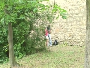 blonde horny chick fucks her friend outdoors