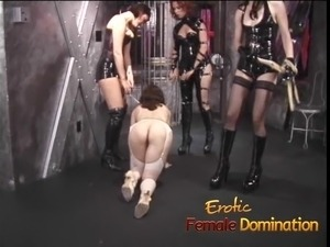 Busty Pamela acts like a good slave for her three mistresses